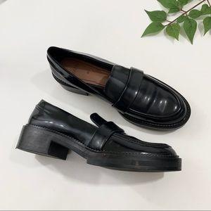 Zara Black Patent Block Heel Leather Loafers 6